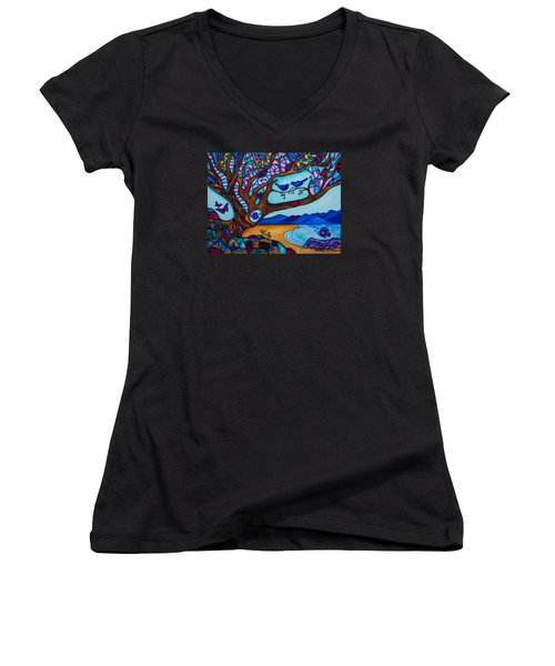 Women's V-Neck T-Shirt (Junior Cut) featuring the painting Love Is All Around Us by Lori Miller