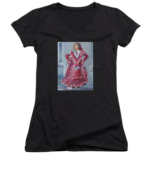 Young Dancer At Arneson Theater Women's V-Neck T-Shirt (Junior Cut) by Connie Schaertl