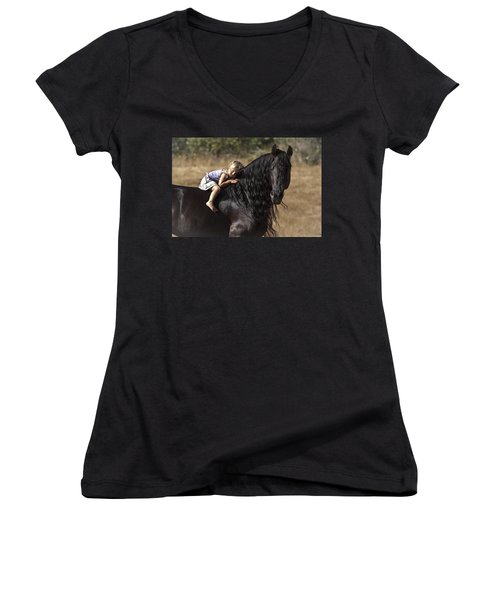 Young Rider Women's V-Neck T-Shirt (Junior Cut) by Wes and Dotty Weber