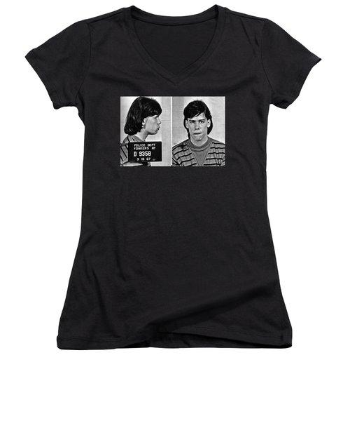 Young Steven Tyler Mug Shot 1963 Pencil Photograph Black And White Women's V-Neck T-Shirt (Junior Cut) by Tony Rubino