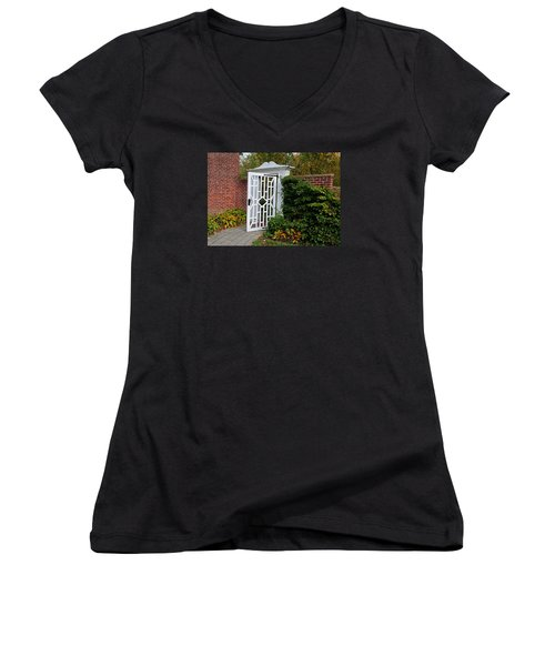 Women's V-Neck T-Shirt (Junior Cut) featuring the photograph Your Next Chapter by Michiale Schneider