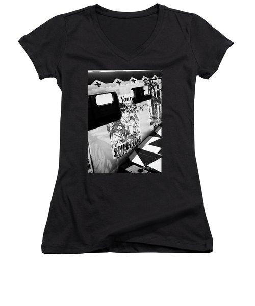 Women's V-Neck T-Shirt (Junior Cut) featuring the photograph Your Stilletos by Chris Dutton