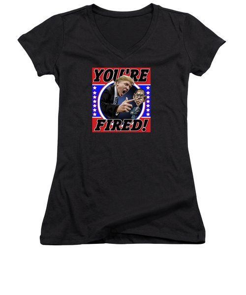 Women's V-Neck T-Shirt (Junior Cut) featuring the photograph You're Fired by Don Olea