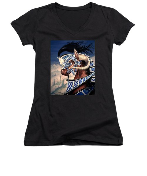 Women's V-Neck T-Shirt (Junior Cut) featuring the painting Yuellas The Bulvaen Horse by Curtiss Shaffer