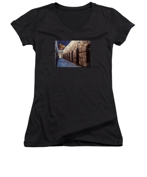 Women's V-Neck T-Shirt (Junior Cut) featuring the photograph Yuma Prison Cellblock  ... by Chuck Caramella