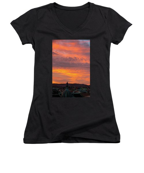 Zagreb Sunset 5 Women's V-Neck T-Shirt