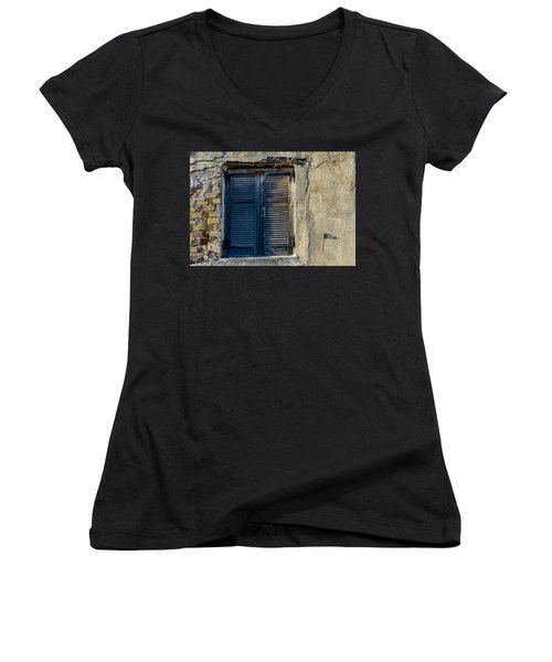 Zakynthos Town Window Women's V-Neck T-Shirt (Junior Cut) by Rainer Kersten