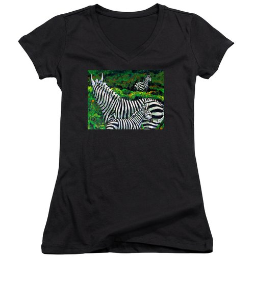 Zebra Family Women's V-Neck T-Shirt (Junior Cut) by Shirley Heyn