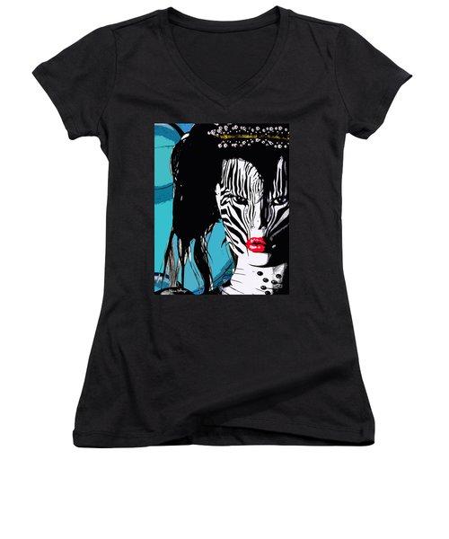 Zebra Girl Pop Art Women's V-Neck