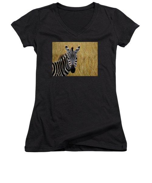 Zebra Half Shot Face On Women's V-Neck (Athletic Fit)