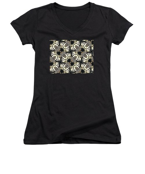 Zebra IIi Women's V-Neck T-Shirt (Junior Cut) by Maria Watt