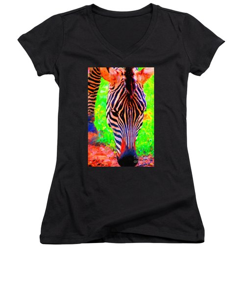 Zebra . Photoart Women's V-Neck