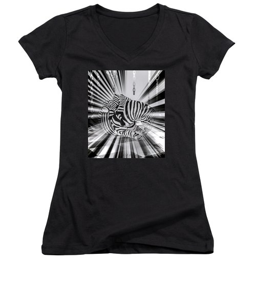 Zebra Time Women's V-Neck T-Shirt