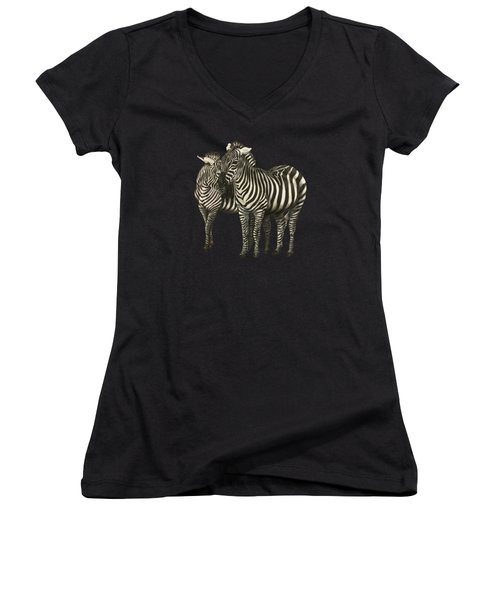 Zebras  Women's V-Neck T-Shirt