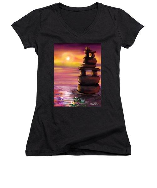 Zen Sunset Women's V-Neck T-Shirt (Junior Cut) by Diana Riukas
