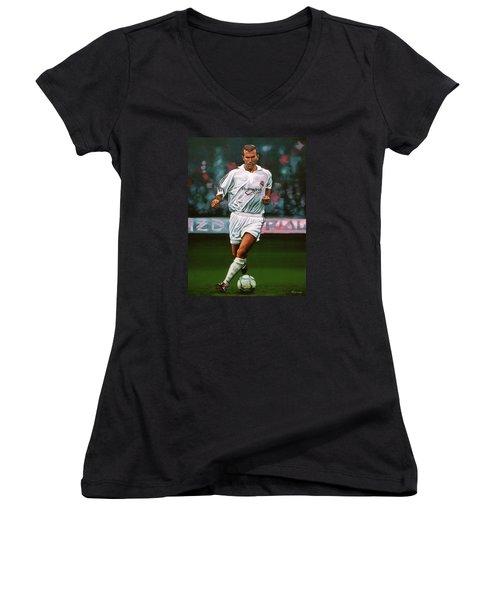 Zidane At Real Madrid Painting Women's V-Neck T-Shirt