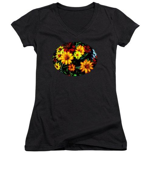 Women's V-Neck T-Shirt (Junior Cut) featuring the digital art Zinnias With Zest by Nick Kloepping
