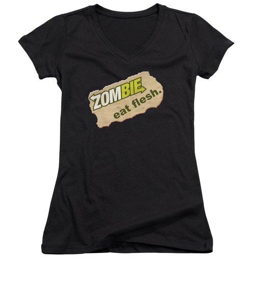 Zombie - Eat Flesh Women's V-Neck (Athletic Fit)