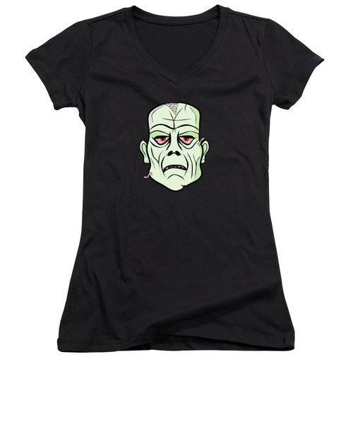 Zombie Head Women's V-Neck (Athletic Fit)