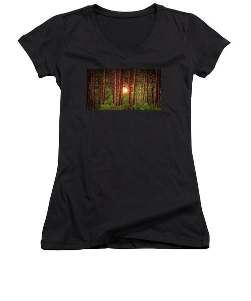 010 - Pine Sunset Women's V-Neck