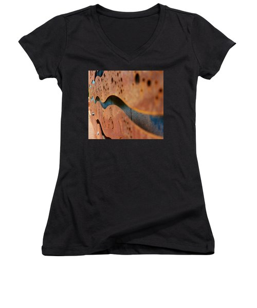 1 Abstract Lake Patricia Sign 3 Women's V-Neck