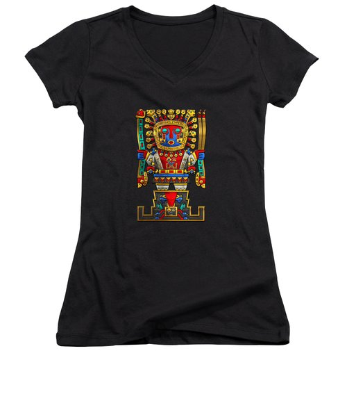 Incan Gods - The Great Creator Viracocha On Black Canvas Women's V-Neck