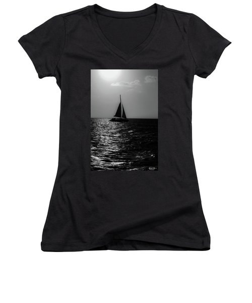 Sailing Into The Sunset Black And White Women's V-Neck