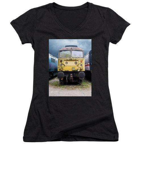Abandoned Yellow Train Women's V-Neck