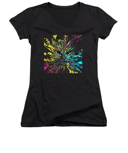 Abstract Cat  Women's V-Neck