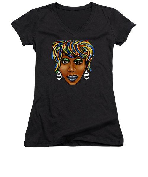 Abstract Art Black Woman Retro Pop Art Painting- Ai P. Nilson Women's V-Neck