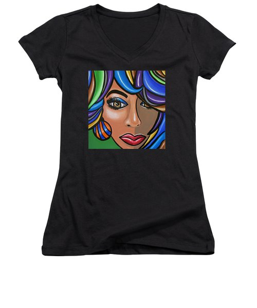 Abstract Woman Artwork Abstract Female Painting Colorful Hair Salon Art - Ai P. Nilson Women's V-Neck