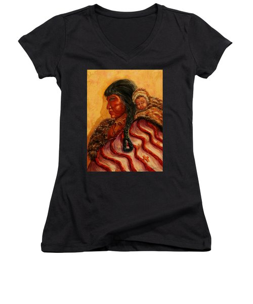 American Indian Mother And Child Women's V-Neck