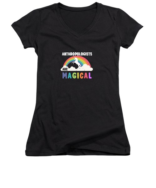Women's V-Neck featuring the digital art Anthropologists Are Magical by Flippin Sweet Gear