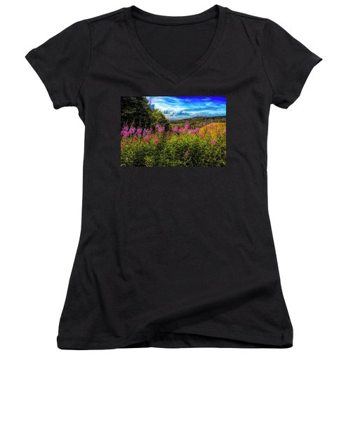 Art Photo Of Vermont Rolling Hills With Pink Flowers In The Fore Women's V-Neck