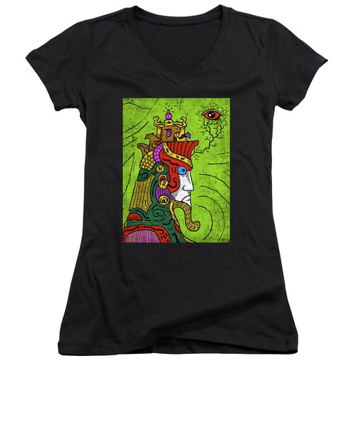 Women's V-Neck featuring the digital art Ancient Egypt Pharaoh by Sotuland Art