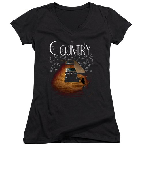 Color Country Music Guitar Notes Women's V-Neck