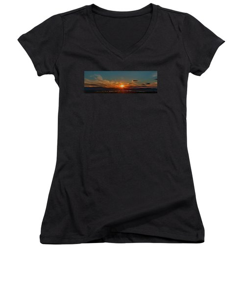 Women's V-Neck featuring the photograph Attean Pond Sunset by Rick Hartigan