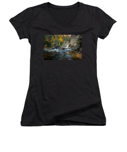 Autumn At Linville Falls - Linville Gorge Blue Ridge Parkway Women's V-Neck