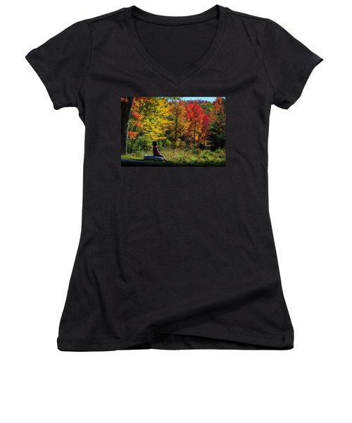 Autumn Leaves In The Catskill Mountains Women's V-Neck
