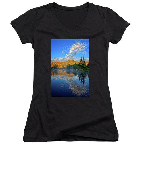 Autumn Sky, Mountain Pond Women's V-Neck