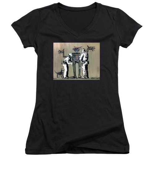 Banksy Coppers Pat Down Women's V-Neck