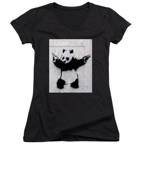 Banksy Panda Women's V-Neck