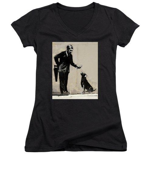 Banksy Paris Man With Bone And Dog Women's V-Neck