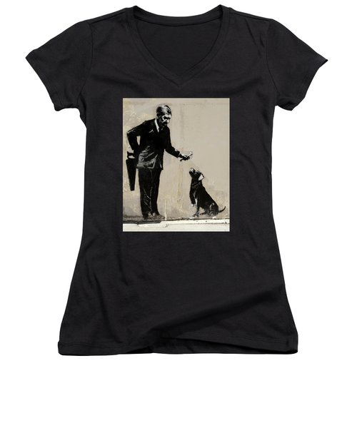 Banksy Paris Man With Bone And Dog Women's V-Neck
