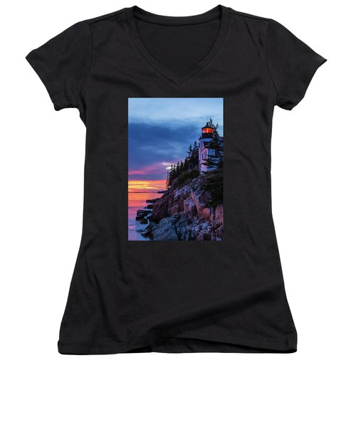 Bass Harbor Head Lighthouse At Twilight Women's V-Neck (Athletic Fit)