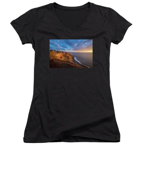 Beautiful Point Vicente Lighthouse At Sunset Women's V-Neck