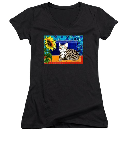 Beauty In Bloom - Savannah Cat Painting Women's V-Neck
