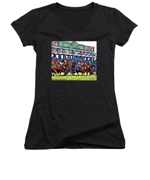 Belmont Park Starting Gate 2 Women's V-Neck