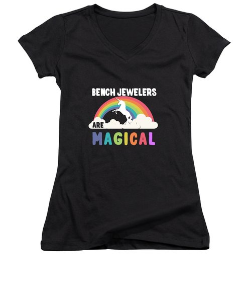 Women's V-Neck featuring the digital art Bench Jewelers Are Magical by Flippin Sweet Gear