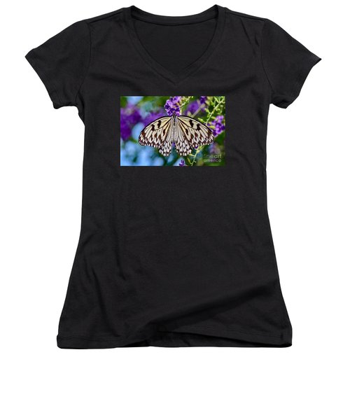 Black And White Paper Kite Butterfly Women's V-Neck
